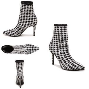 Charles David Houndstooth Black White Knit Bootie
